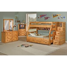 Twin Over Full Standard Bunk Bed with Trundle Unit and Staircase