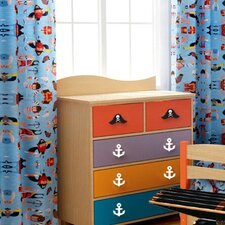 Pirate Pals Cotton Rod Pocket Curtain Panel Pair