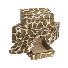 Nested Faux Pony Giraffe Print Boxes 3 Piece Set
