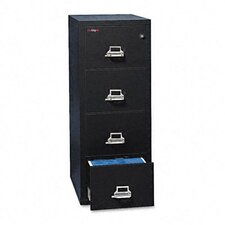"4-Drawer Vertical File, 17.75"" W x 31.56"" D, Ul Listed 350 for Fire, Letter"