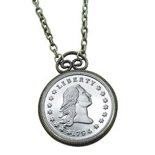 Stella Flowing Hair Dollar Replica Coin Silvertone Pendant
