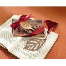 ''Turning Leaves'' Bookmark with Burgundy Silk Tassel