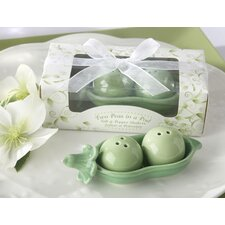 Two Peas in a Pod Ceramic Salt and Pepper Shakers in Ivy Leaf Print Box
