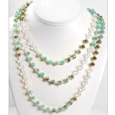 Iridescent Glass Beads Necklace & Earrings Set
