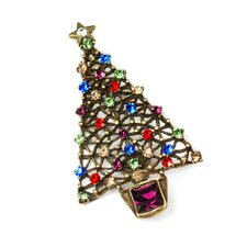 Christmas Tree Gemstone Pin