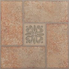 "Nexus 12"" x 12"" Vinyl Tile in Beige Terracotta with Motif Center"