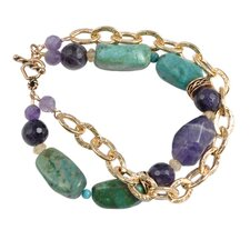 Bliss Amethyst Turquoise Beaded Toggle Bracelet