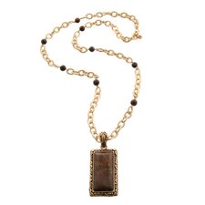 Metal Bronzite Necklace with Pendant