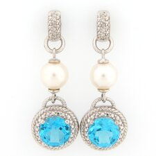 Rope Design Topaz, Pearl and Diamond Accents Dangle Earrings