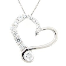 Shimmering Cubic Zirconia Open Heart Journey Pendant and Chain