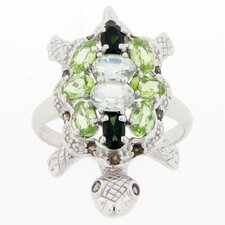 Sterling Silver Multi Stone Turtle Ring