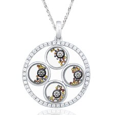 Two-Tone Sterling Silver Eternity Gemstone Necklace