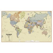Hemispheres Boardroom World Laminated Wall Map