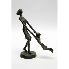 Woman Swinging Child Cast Iron Statue