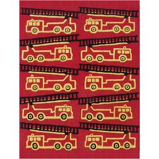 Abacasa Kids Firetrucks Red/Yellow/Black Area Rug