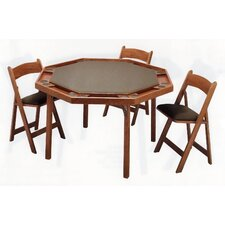 "52"" Oak Contemporary Folding Poker Table Set"