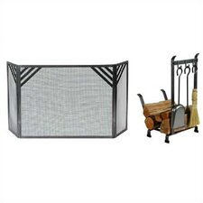 Chevron Fireplace Steel Accessories Set