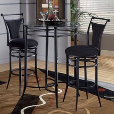 "Cierra Bistro Set- 30"" Bar Stools in Pewter with Black Fabric"
