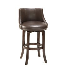 Napa Valley Swivel Counter Stool in Brown Leather and Cherry