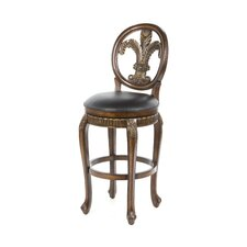 "Fleur De Lis 30"" Triple Leaf Swivel Bar Stool"