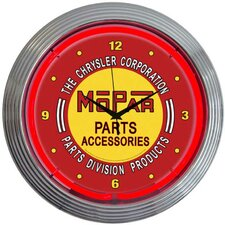 Mopar Vintage Neon Clock in Red