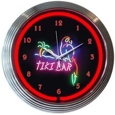 Tiki Bar Neon Clock