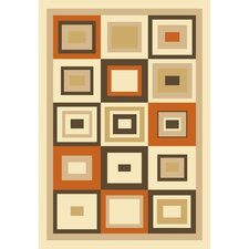 Melody Boxes Orange Geometric Rug