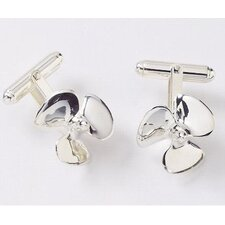 Sterling Silver Propeller Cuff Link Set