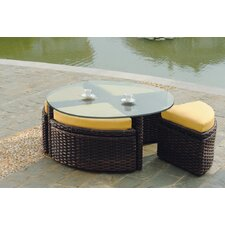 Saint Tropez Wicker Round Sushi Table with Ottoman