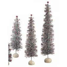 Bottle Brush and Plastic Ball Tree (Set of 3)