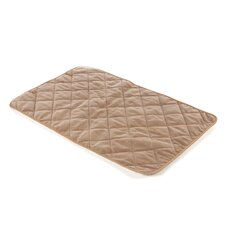Quiet Time Deluxe Quilted Reversible Dog Mat in Tan Suede and Fleece