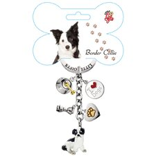 Border Collie Enamel Key Chain