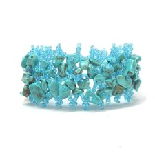 Beaded Weave Gemstone Cuff Bracelet