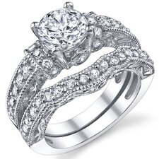 Solid Sterling Silver Round Cubic Zirconia Wedding Engagement Bridal Ring Set
