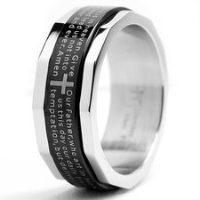 Men's Two Tone Stainless Steel Comfort Fit Lords Prayer and Cross Ring