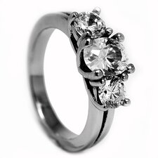 Stainless Steel 2.5 Carat TCW Cubic Zirconia Engagement Ring