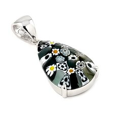 Sterling Silver Millefiori Glass Drop Pendant