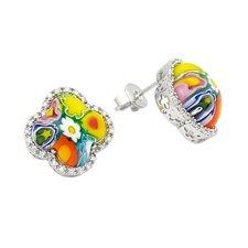 Millefiori Glass Clover Stud Earrings