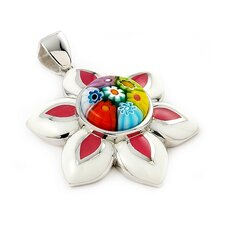 Sterling Silver Millacreli Glass Flower Pendant
