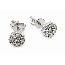 Pave Cubic Zirconia Stud Earrings