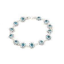 Flower Glass Eye Link Bracelet