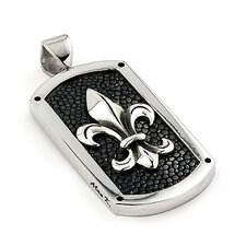 Hematite Stingray Leather Fleur De Lis Dog Tag Pendant