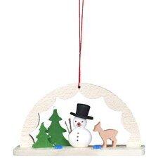 Archway with Snowman in Woods and Deer Ornament