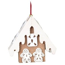 Christian Ulbricht Brown Gingerbread Frosted House Ornament