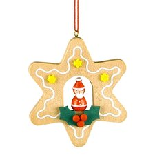 Christian Ulbricht Star Shaped Gingerbread Cookie Ornament with Santa