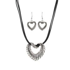 Artisan Heart with Black Leather Cord Necklace and Earring Set