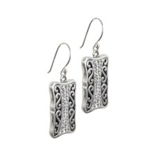 Bali Bling Sterling Silver Filigree Clear Crystal Pave Earrings