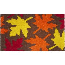 Mid Thickness Coir Maple Leaves Coconut Fiber Doormat