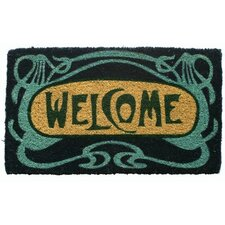 Art Deco Welcome Handwoven Coconut Fiber Doormat