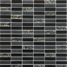"Jayda Series 12"" x 12"" Mixed Crackled Glass Mosaic in Black"